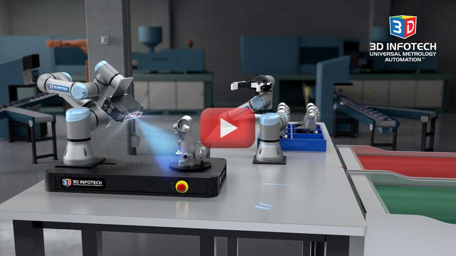 Universal Metrology Automation with Universal Robot's UR3s with LMI's Gocator. This pick and place demo uses a UR3 with a Robotiq grip to place the part on the rotary table and when finished, depending on the result, placing the part on the conveyor belt of the right color.