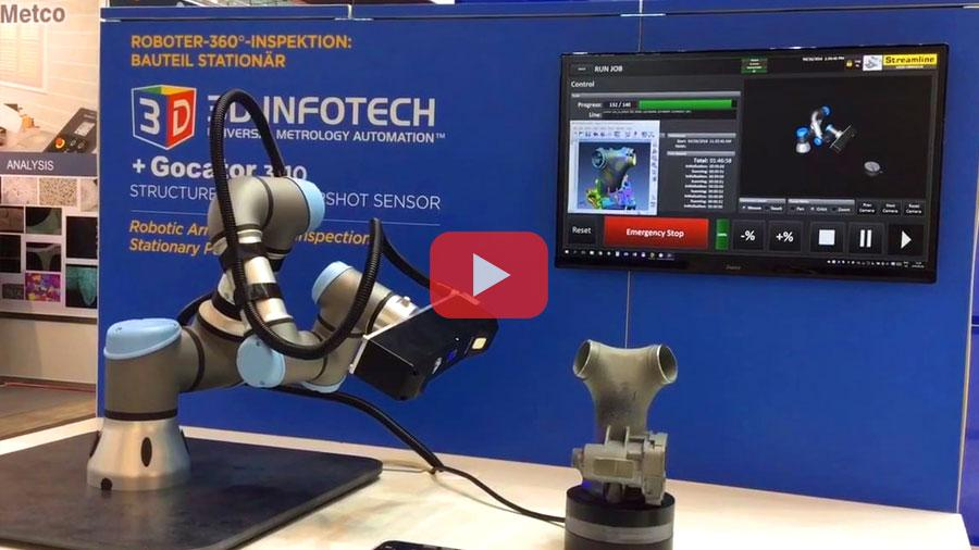 Demonstration of Universal Metrology Automation from 3D Infotech's at LMI's booth at the Control 2016 show in Stuttgart, Germany. A solution involving Universal Robot UR5, LMI's Gocator and a rotary table, driven by Steamline software.